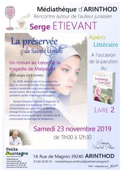 Affiche apéro littéraire 23nov2019 Serge ETIEVANT - POST
